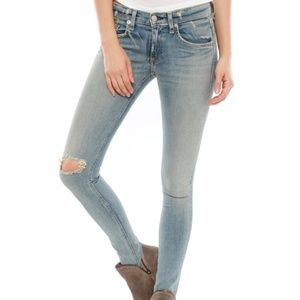 Rag & Bone Distressed Knee Light Skinny Jeans  26